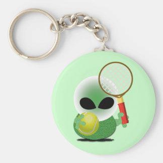 Tennis Fan Basic Round Button Keychain