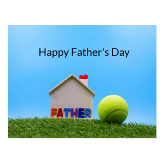 Tennis Father's Day with Tennis ball and house Postcard