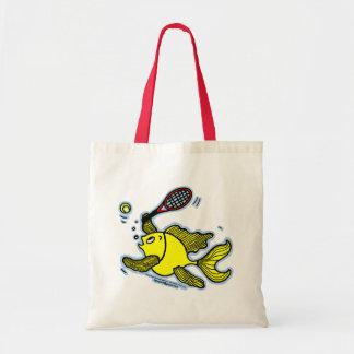 Tennis Fish, Fish Playing Tennis Canvas Bags