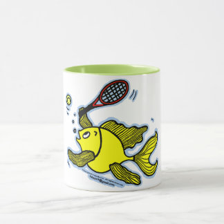 Tennis Fish, Fish Playing Tennis funny Tea/Coffee Mug