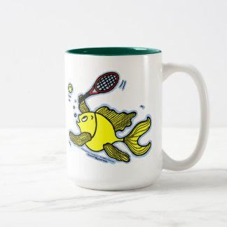 Tennis Fish, Fish Playing Tennis Two-Tone Coffee Mug