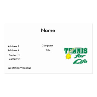 tennis for life text design business card