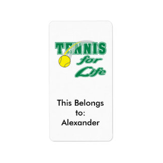 tennis for life text design label
