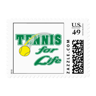 tennis for life text design postage stamp