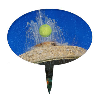 Tennis, fountain and flowers cake topper