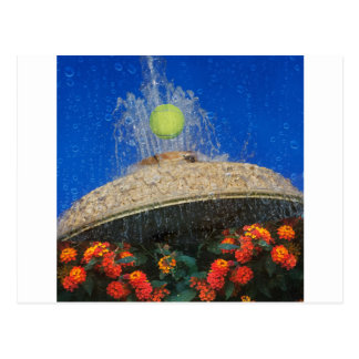 Tennis, fountain and flowers postcard