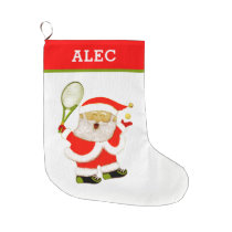tennis funny large christmas stocking