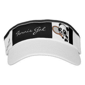 Tennis Gal Cute Panda Bear and Racket Custom Words Visor