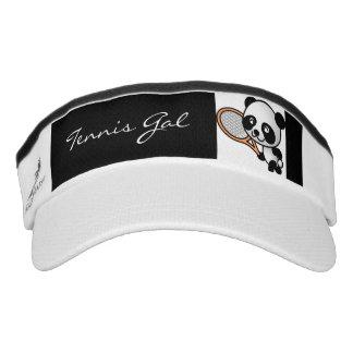 Tennis Gal Cute Panda Bear and Racket Custom Words Headsweats Visor