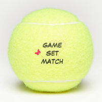 Tennis Game Set Match Butterfly Love Personalized Tennis Balls