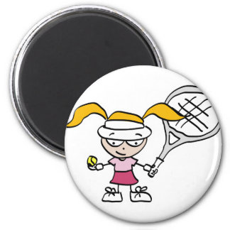Tennis Gifts & Cards with cute cartoon girl 2 Inch Round Magnet