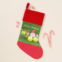 Tennis gifts from Santa Claus with tennis balls Christmas Stocking