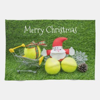 Tennis gifts from Santa Claus with tennis balls Kitchen Towel