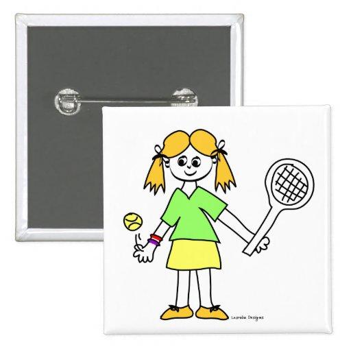 Tennis Girl Buttons