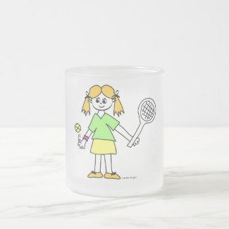 Tennis Girl Frosted Glass Coffee Mug