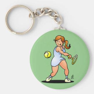 Tennis girl hittin a backhand keychain