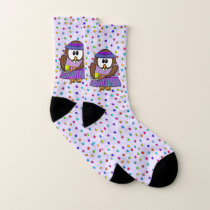 tennis girl owl - socks
