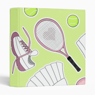 Tennis Girl Pattern Green Background Binder