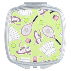 Tennis Girl Pattern Green Background Mirror For Makeup at Zazzle