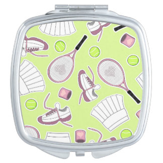 Tennis Girl Pattern Green Background Mirror For Makeup