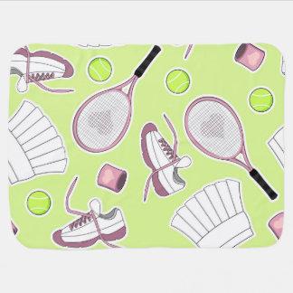 Tennis Girl Pattern Green Background Stroller Blanket
