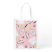 Tennis Girl Pattern Pink Background Grocery Bag