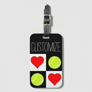 Tennis Girls Cute Tennis Ball and Heart Pattern Luggage Tag
