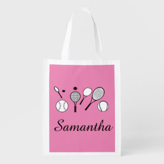 Tennis girly girls pink black grocery bag