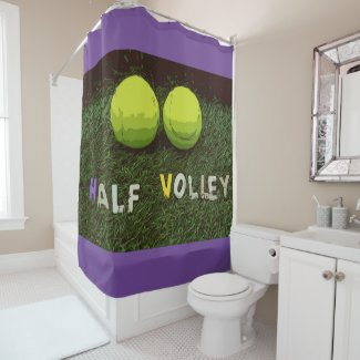 Tennis Half volley with tennis ball on green grass Shower Curtain