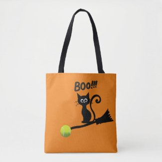 Tennis Halloween cat witch on bloom to the Moon Tote Bag