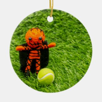 Tennis Halloween Party with ghost on green Ceramic Ornament