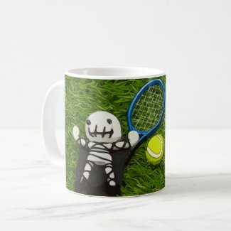 Tennis Halloween Party with  ghost on green Coffee Mug
