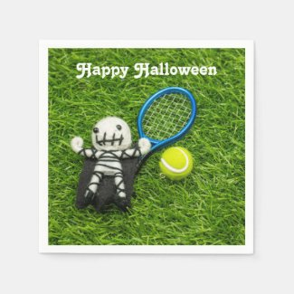 Tennis Halloween Party with ghost on green Napkins