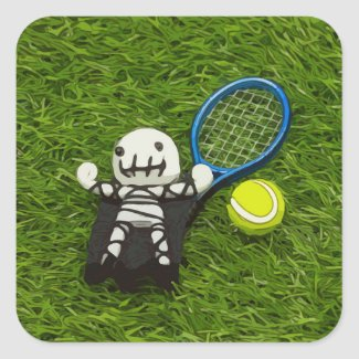 Tennis Halloween Party with ghost on green Square Sticker