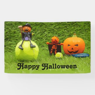 Tennis Halloween Party with ghost pumpkin Banner