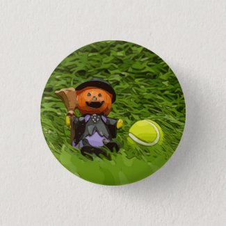 Tennis Halloween Party with ghost pumpkin Button