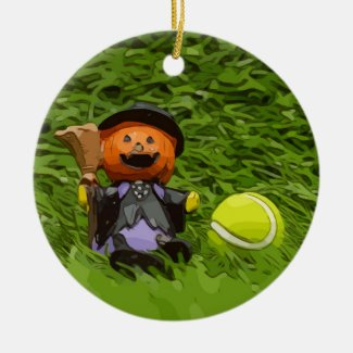 Tennis Halloween Party with ghost pumpkin Ceramic Ornament