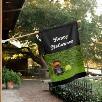 Tennis Halloween Party with ghost pumpkin House Flag