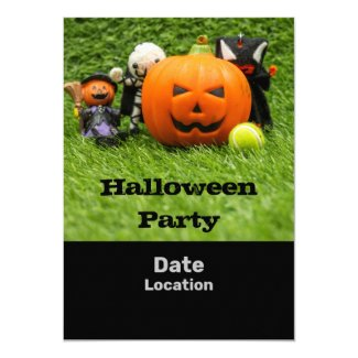 Tennis Halloween Party with ghost pumpkin on green Invitation