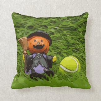 Tennis Halloween Party with ghost pumpkin Throw Pillow
