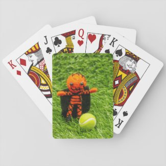 Tennis Halloween Party with pumpkin ghost on green Playing Cards