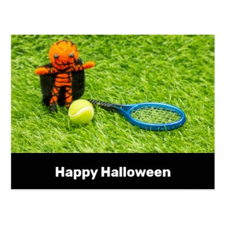 Tennis Halloween Party with pumpkin ghost on green Postcard