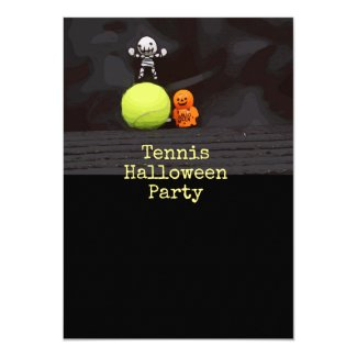 Tennis Halloween Party with tennis ball and ghost Invitation