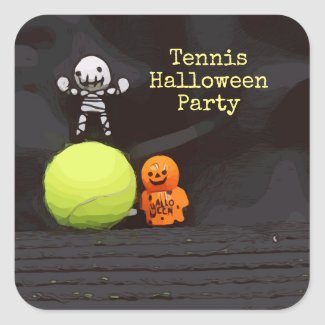 Tennis Halloween Party with tennis ball and ghost Square Sticker
