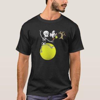 Tennis Halloween skeleton play tennis with ghost T-Shirt