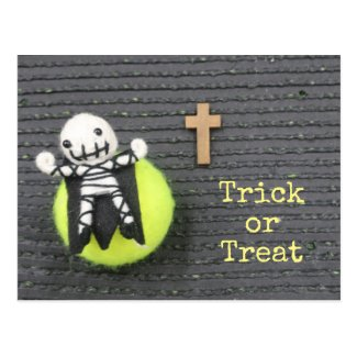 Tennis Halloween Trick or treat with ghost Postcard