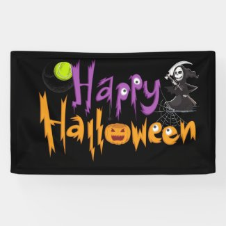 Tennis Halloween Witch playing   Happy Halloween  Banner