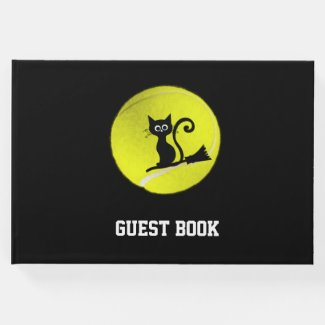 Tennis Halloween with black cat in tennis ball  Guest Book