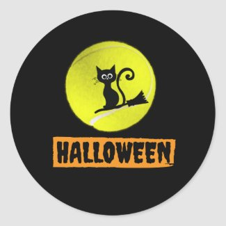 Tennis Halloween with black cat on the Moon  Classic Round Sticker