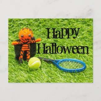 Tennis Halloween with ghost and tennis ball  Postcard